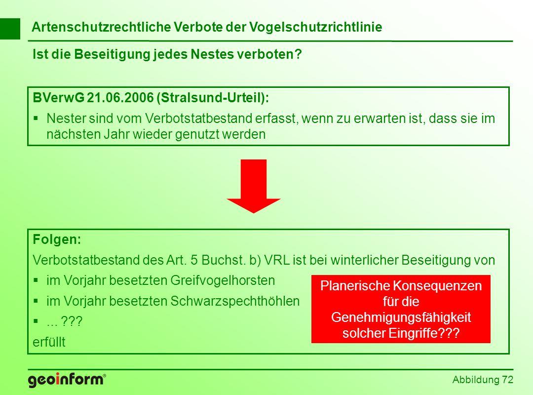 Abbildung 72 Ist die Beseitigung jedes Nestes verboten? BVerwG 21.06.2006 (Stralsund-Urteil): Nester sind vom Verbotstatbestand erfasst, wenn zu erwar