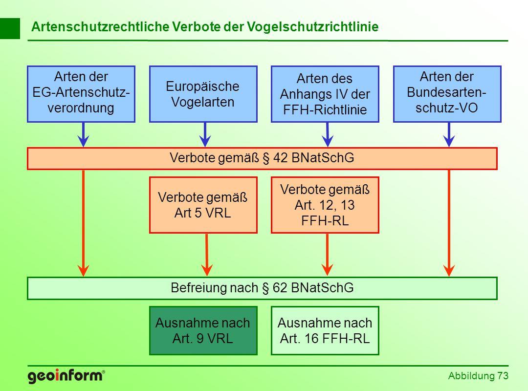Abbildung 73 Befreiung nach § 62 BNatSchG Europäische Vogelarten Arten der EG-Artenschutz- verordnung Arten der Bundesarten- schutz-VO Arten des Anhan