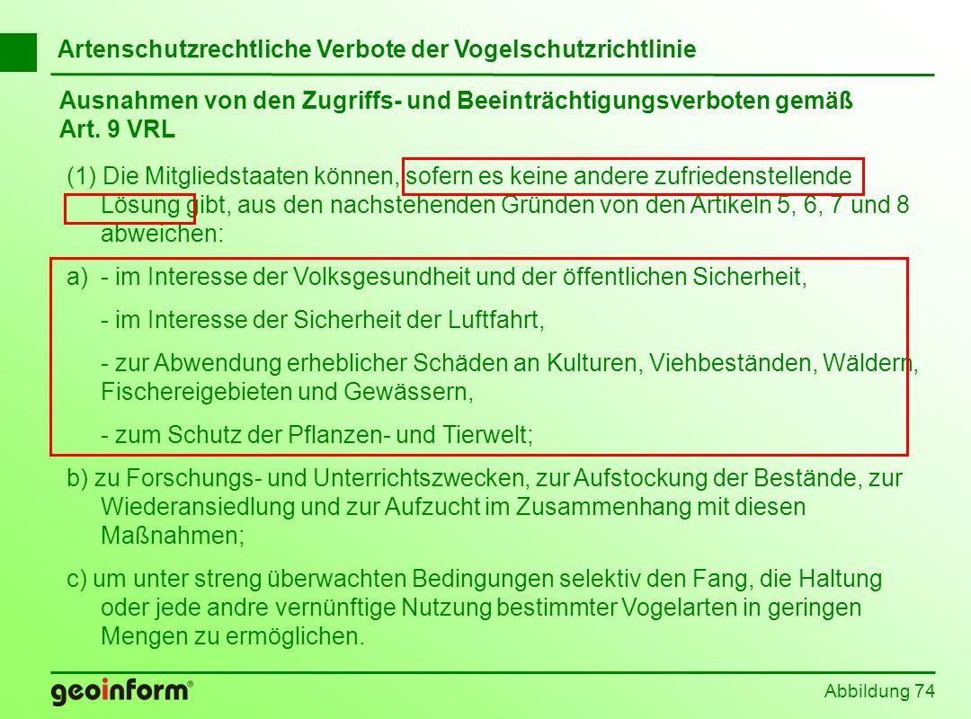 Ausnahmen von den Zugriffs- und Beeinträchtigungsverboten gemäß Art. 9 VRL Abbildung 74 (1) Die Mitgliedstaaten können, sofern es keine andere zufried
