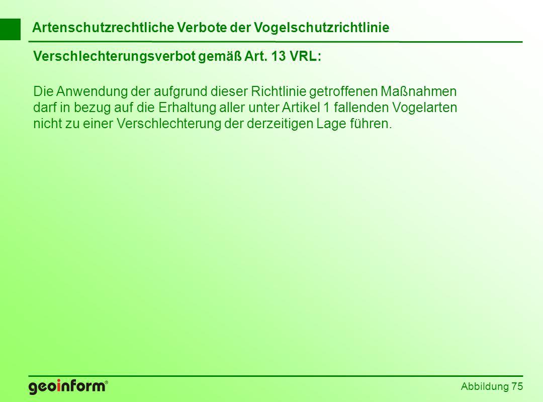 Verschlechterungsverbot gemäß Art. 13 VRL: Abbildung 75 Die Anwendung der aufgrund dieser Richtlinie getroffenen Maßnahmen darf in bezug auf die Erhal