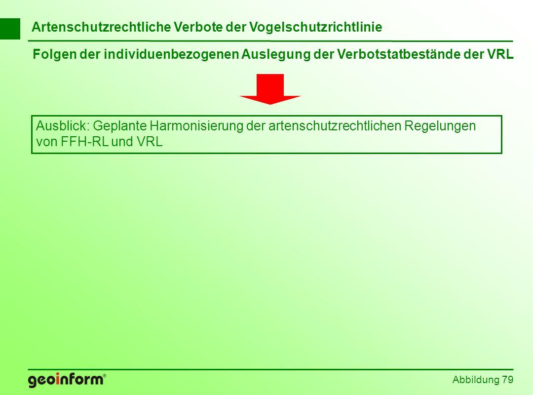 Abbildung 79 Folgen der individuenbezogenen Auslegung der Verbotstatbestände der VRL Artenschutzrechtliche Verbote der Vogelschutzrichtlinie Ausblick:
