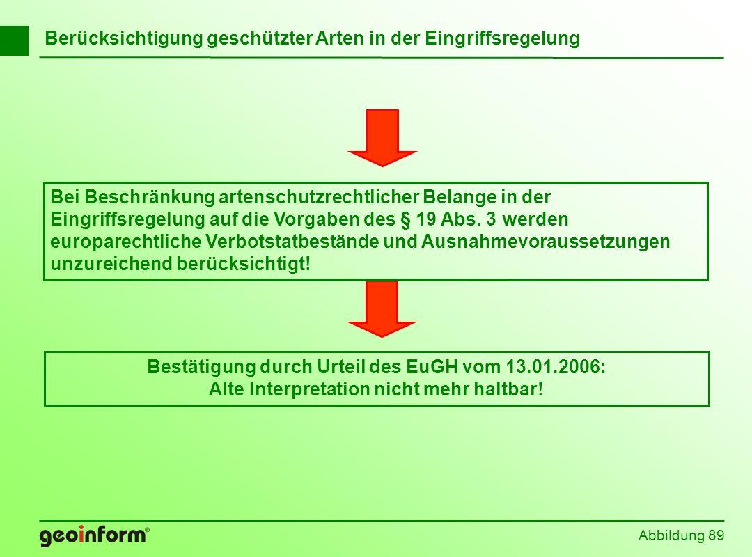 Abbildung 89 Berücksichtigung geschützter Arten in der Eingriffsregelung Bestätigung durch Urteil des EuGH vom 13.01.2006: Alte Interpretation nicht m
