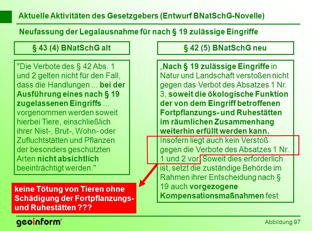 Abbildung 97 Aktuelle Aktivitäten des Gesetzgebers (Entwurf BNatSchG-Novelle) Neufassung der Legalausnahme für nach § 19 zulässige Eingriffe § 43 (4)