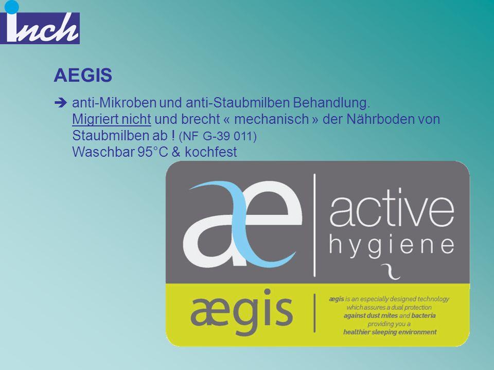AEGIS anti-Mikroben und anti-Staubmilben Behandlung. Migriert nicht und brecht « mechanisch » der Nährboden von Staubmilben ab ! (NF G-39 011) Waschba
