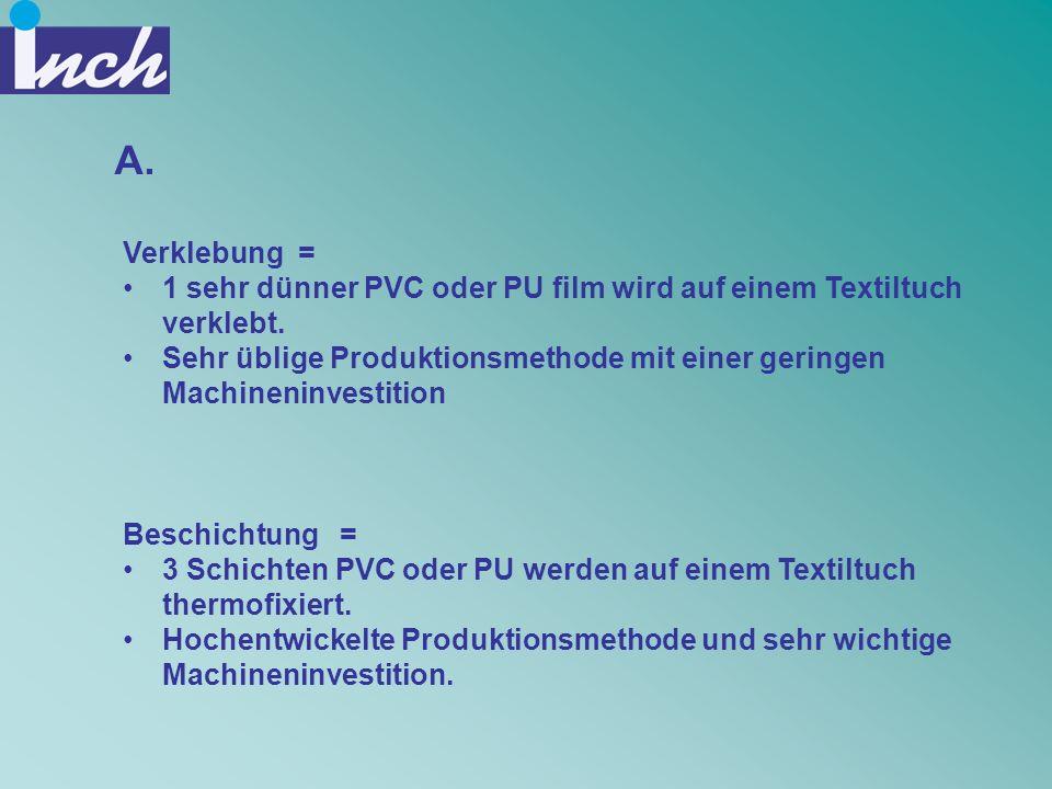 A. Verklebung = 1 sehr dünner PVC oder PU film wird auf einem Textiltuch verklebt. Sehr üblige Produktionsmethode mit einer geringen Machineninvestiti