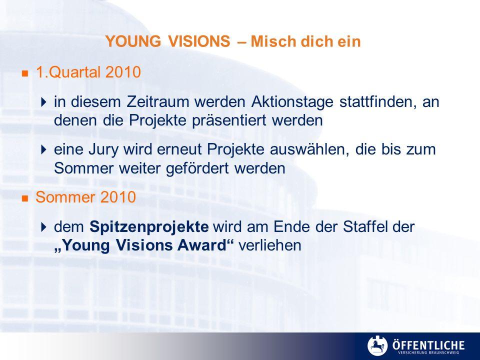 YOUNG VISIONS – Misch dich ein 1.Quartal 2010 in diesem Zeitraum werden Aktionstage stattfinden, an denen die Projekte präsentiert werden eine Jury wi
