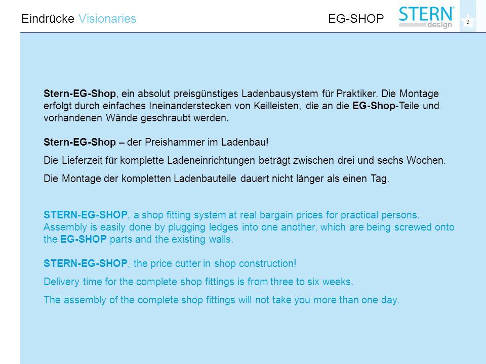 3 Eindrücke VisionariesEG-SHOP Stern-EG-Shop, ein absolut preisgünstiges Ladenbausystem für Praktiker.