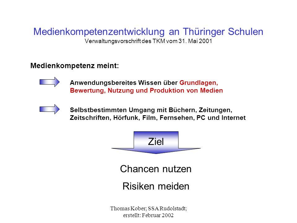 Thomas Kober; SSA Rudolstadt; erstellt: Februar 2002 Medienkompetenzentwicklung an Thüringer Schulen Verwaltungsvorschrift des TKM vom 31. Mai 2001 Me