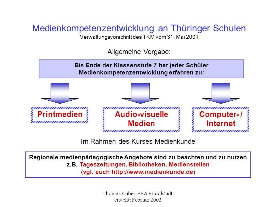 Thomas Kober; SSA Rudolstadt; erstellt: Februar 2002 Medienkompetenzentwicklung an Thüringer Schulen Verwaltungsvorschrift des TKM vom 31.