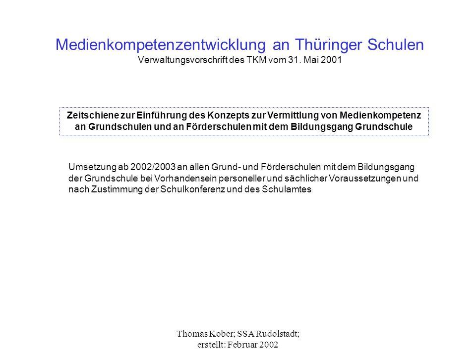 Thomas Kober; SSA Rudolstadt; erstellt: Februar 2002 Medienkompetenzentwicklung an Thüringer Schulen Verwaltungsvorschrift des TKM vom 31. Mai 2001 Ze