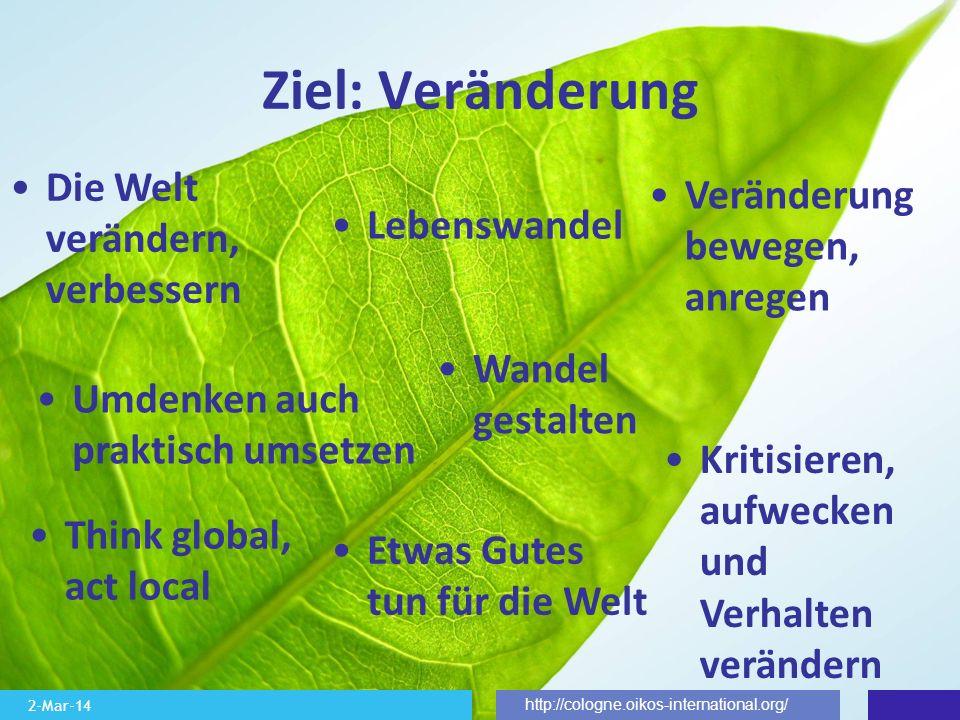 2-Mar-14 http://cologne.oikos-international.org/ Ziel: Veränderung Die Welt verändern, verbessern Wandel gestalten Think global, act local Umdenken au