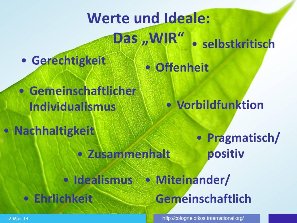 2-Mar-14 http://cologne.oikos-international.org/ Werte und Ideale: Das WIR Zusammenhalt Miteinander/ Gemeinschaftlich Gemeinschaftlicher Individualism