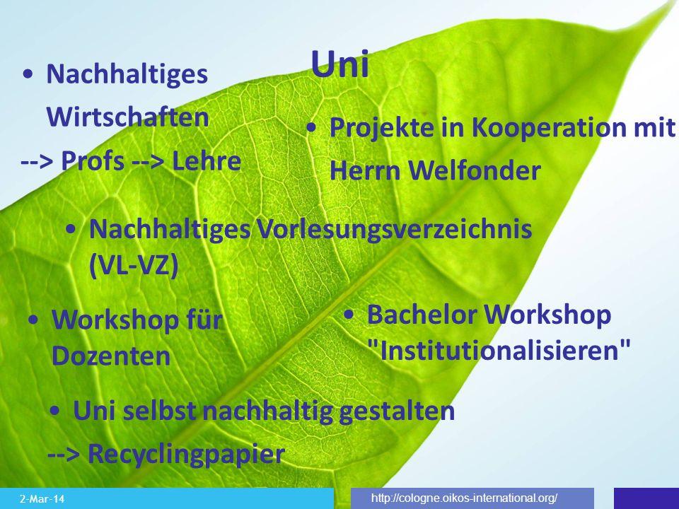 2-Mar-14 http://cologne.oikos-international.org/ Uni Nachhaltiges Wirtschaften --> Profs --> Lehre Nachhaltiges Vorlesungsverzeichnis (VL-VZ) Uni selb