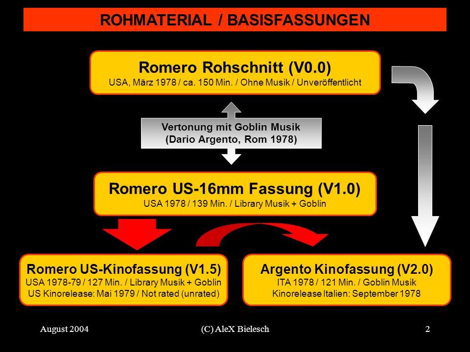 August 2004(C) AleX Bielesch2 ROHMATERIAL / BASISFASSUNGEN Romero Rohschnitt (V0.0) USA, März 1978 / ca. 150 Min. / Ohne Musik / Unveröffentlicht Vert