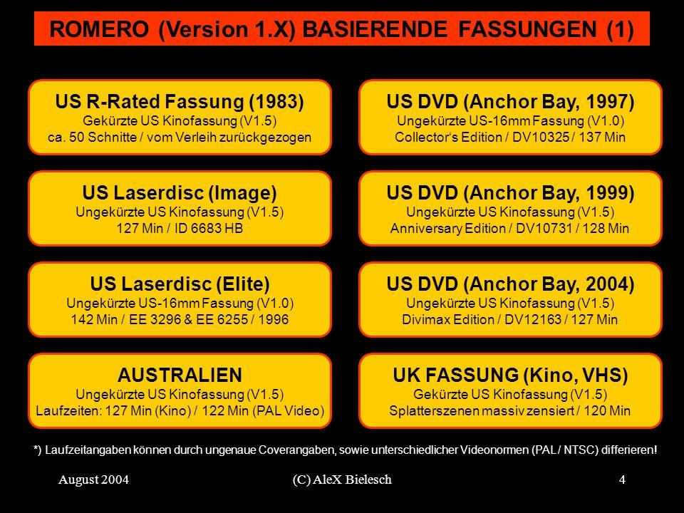 August 2004(C) AleX Bielesch4 ROMERO (Version 1.X) BASIERENDE FASSUNGEN (1) US R-Rated Fassung (1983) Gekürzte US Kinofassung (V1.5) ca. 50 Schnitte /
