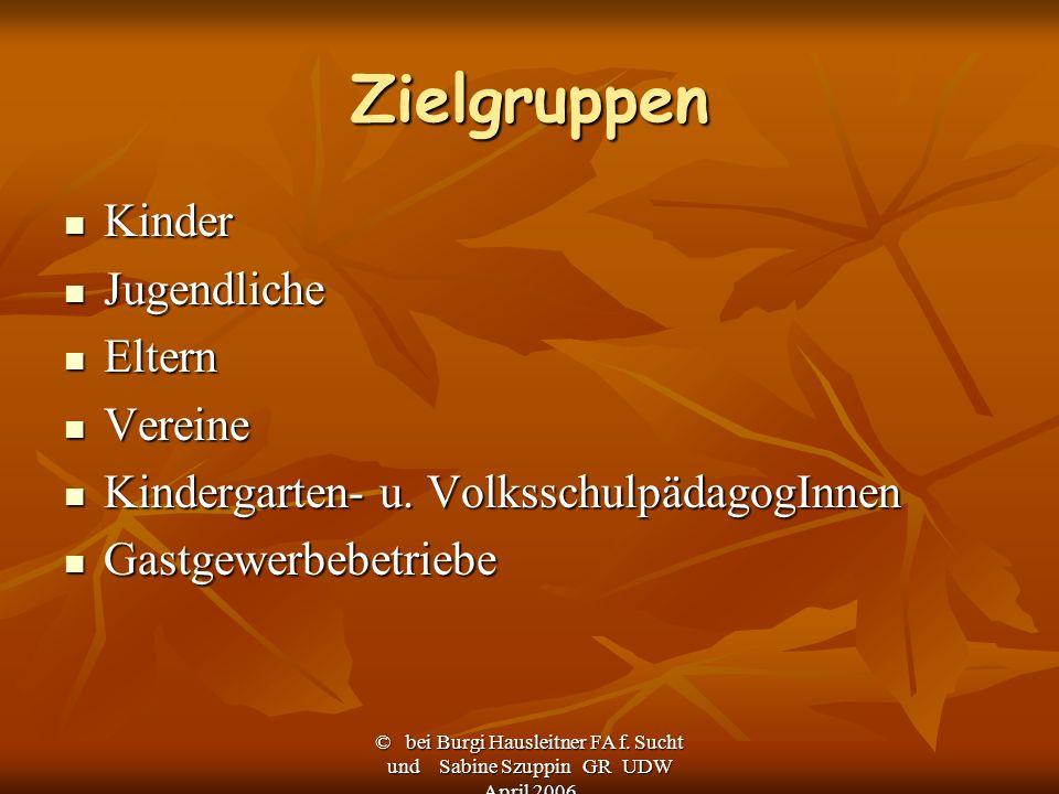 © bei Burgi Hausleitner FA f. Sucht und Sabine Szuppin GR UDW April 2006 Zielgruppen Kinder Kinder Jugendliche Jugendliche Eltern Eltern Vereine Verei