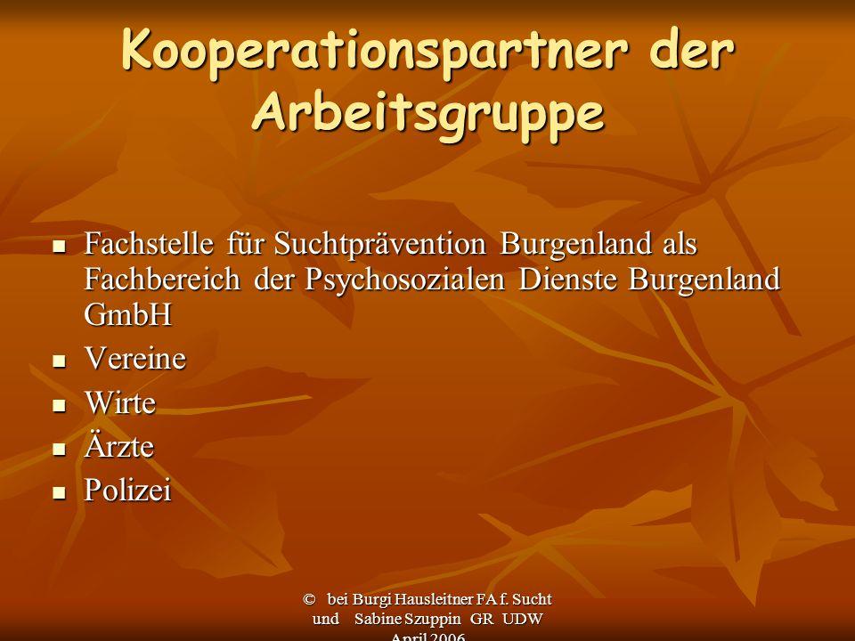 © bei Burgi Hausleitner FA f. Sucht und Sabine Szuppin GR UDW April 2006 Kooperationspartner der Arbeitsgruppe Fachstelle für Suchtprävention Burgenla
