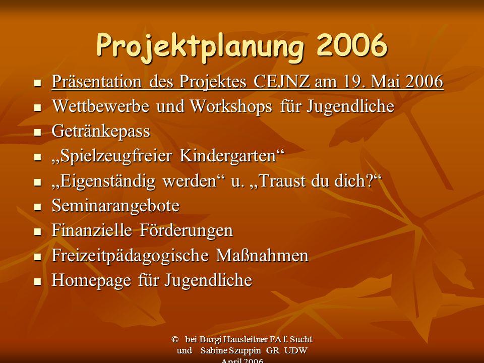 © bei Burgi Hausleitner FA f. Sucht und Sabine Szuppin GR UDW April 2006 Projektplanung 2006 Präsentation des Projektes CEJNZ am 19. Mai 2006 Präsenta