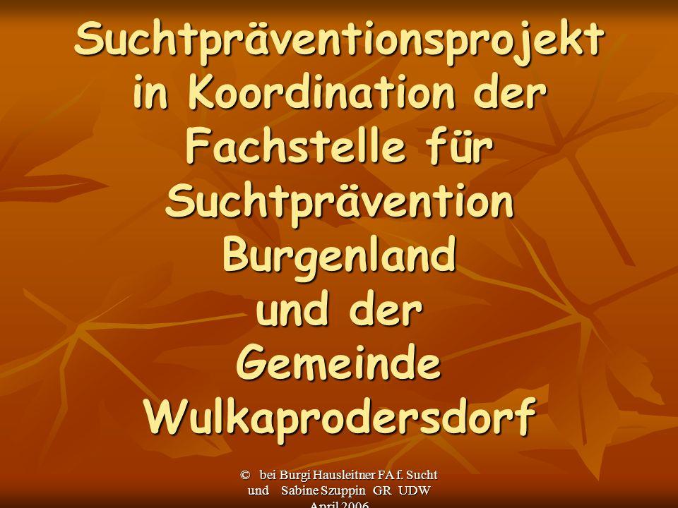 © bei Burgi Hausleitner FA f. Sucht und Sabine Szuppin GR UDW April 2006 Suchtpräventionsprojekt in Koordination der Fachstelle für Suchtprävention Bu