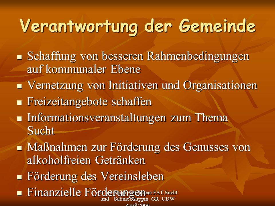 © bei Burgi Hausleitner FA f. Sucht und Sabine Szuppin GR UDW April 2006 Verantwortung der Gemeinde Schaffung von besseren Rahmenbedingungen auf kommu