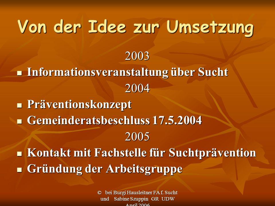 © bei Burgi Hausleitner FA f. Sucht und Sabine Szuppin GR UDW April 2006 Von der Idee zur Umsetzung 2003 Informationsveranstaltung über Sucht Informat