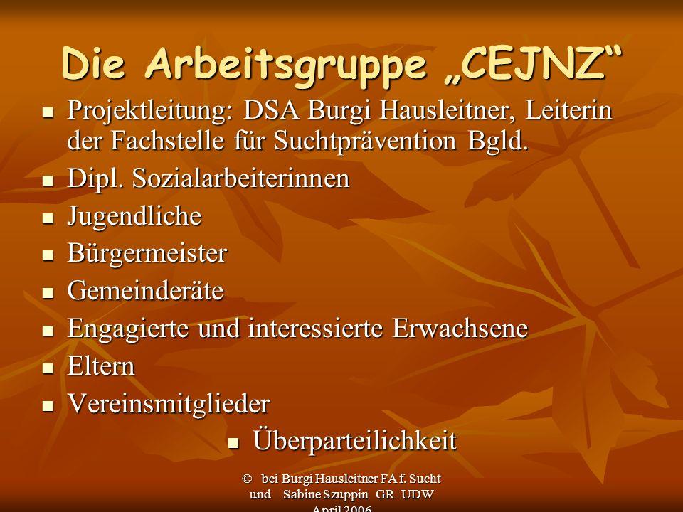 © bei Burgi Hausleitner FA f. Sucht und Sabine Szuppin GR UDW April 2006 Die Arbeitsgruppe CEJNZ Projektleitung: DSA Burgi Hausleitner, Leiterin der F