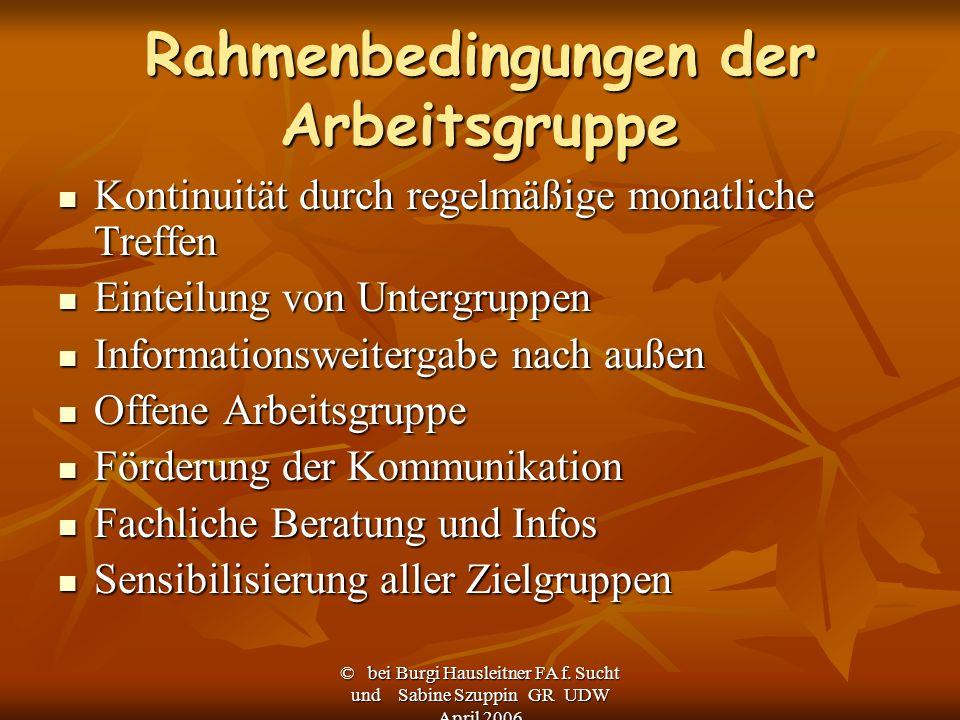 © bei Burgi Hausleitner FA f. Sucht und Sabine Szuppin GR UDW April 2006 Rahmenbedingungen der Arbeitsgruppe Kontinuität durch regelmäßige monatliche