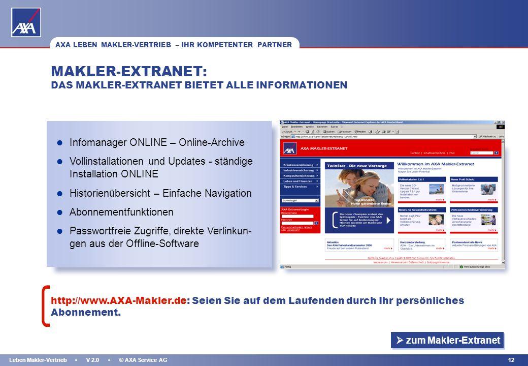 KAPITEL 11Leben Makler-Vertrieb V 2.0 © AXA Service AG DEZENTRALE BETREUUNG INDIVIDUELLE UND DIREKTE BETREUUNG: Nutzen Sie unseren Service für sich! W