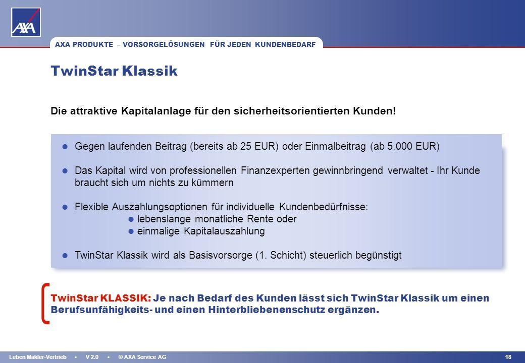 KAPITEL 17Leben Makler-Vertrieb V 2.0 © AXA Service AG 1. und 3. Schicht: TwinStar - Höchste garantierte Rente und Top-Rendite AXA PRODUKTE – VORSORGE