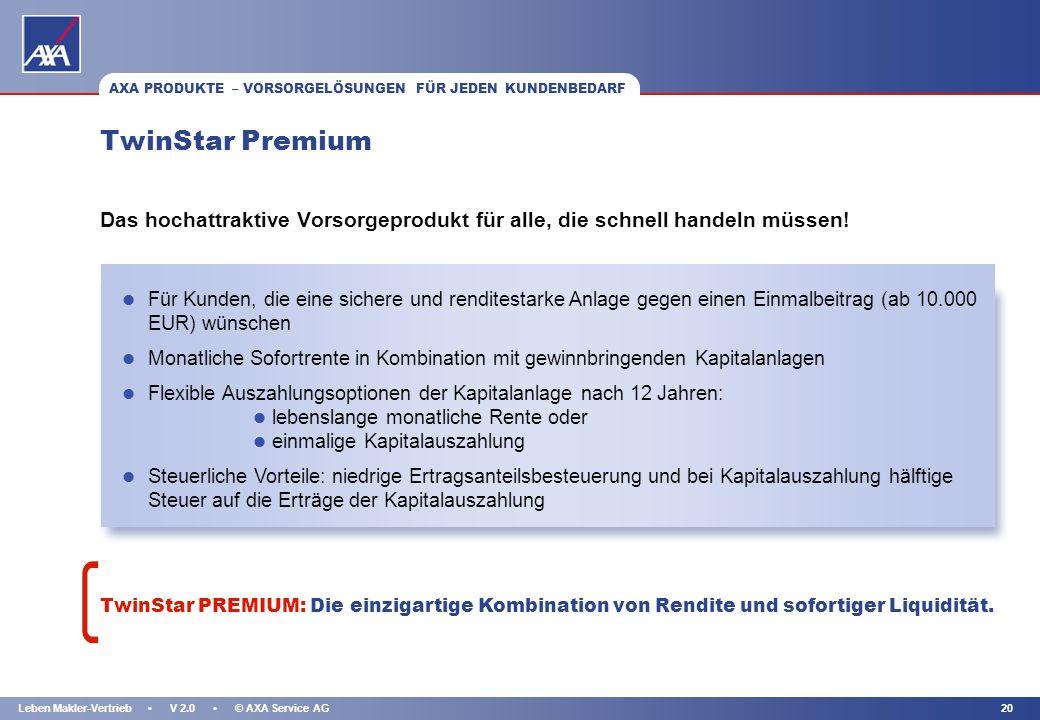 KAPITEL 19Leben Makler-Vertrieb V 2.0 © AXA Service AG l Gegen laufenden Beitrag (bereits ab 25 EUR) oder Einmalbeitrag (ab 5.000 EUR) l Flexible Auszahlungsoptionen für individuelle Kundenbedürfnisse: l lebenslange mtl.