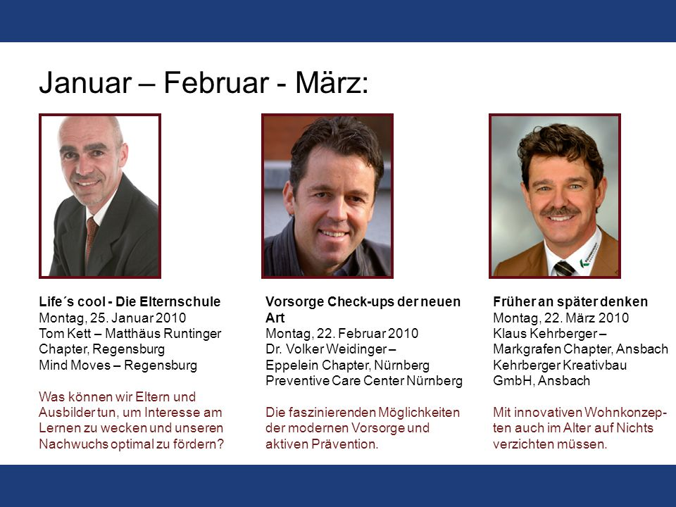 Das Forum 2010: deutschlandweit einmalig Das BNI Forum geht ins dritte Jahr und bekommt eine neue Qualität. Für 2010 sind BNI-Mitglieder als Medienpar