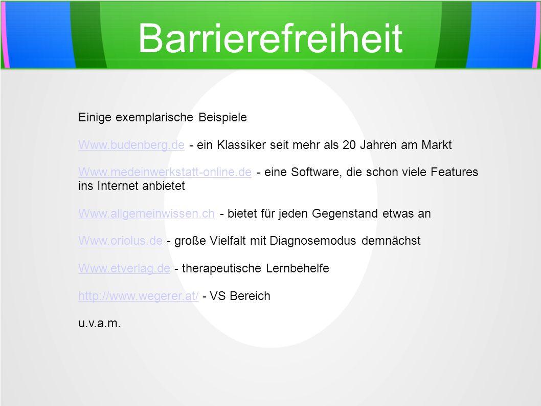 Barrierefreiheit Einige exemplarische Beispiele Www.budenberg.deWww.budenberg.de - ein Klassiker seit mehr als 20 Jahren am Markt Www.medeinwerkstatt-