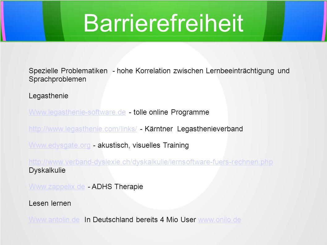Barrierefreiheit Spezielle Problematiken - hohe Korrelation zwischen Lernbeeinträchtigung und Sprachproblemen Legasthenie Www.legasthenie-software.deW
