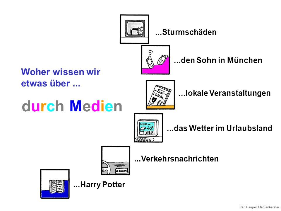 Woher wissen wir etwas über......Sturmschäden...den Sohn in München...lokale Veranstaltungen...das Wetter im Urlaubsland...Verkehrsnachrichten...Harry