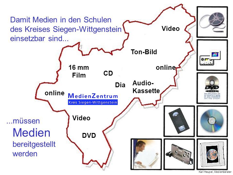Damit Medien in den Schulen des Kreises Siegen-Wittgenstein einsetzbar sind......müssen Medien bereitgestellt werden online Video DVD CD Dia Audio- Ka