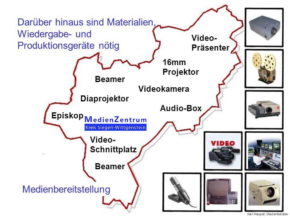 Medienbereitstellung Videokamera Video- Präsenter Diaprojektor Audio-Box 16mm Projektor Episkop Video- Schnittplatz Beamer Darüber hinaus sind Materia
