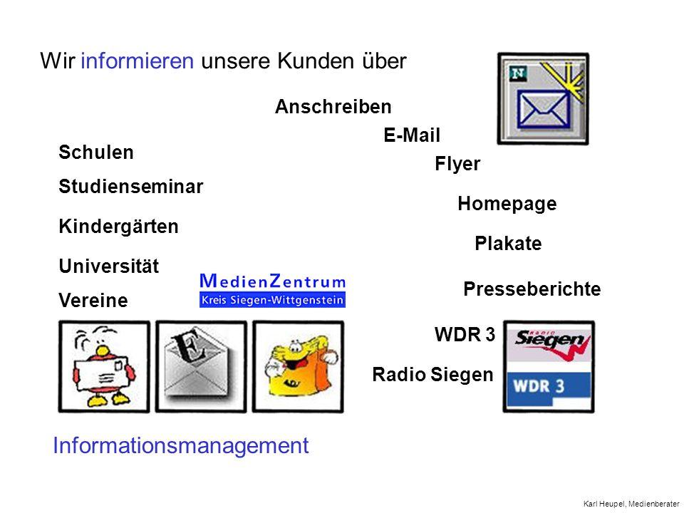 Wir informieren unsere Kunden über Informationsmanagement Anschreiben Homepage E-Mail Universität Flyer Vereine Studienseminar Schulen Kindergärten Pl