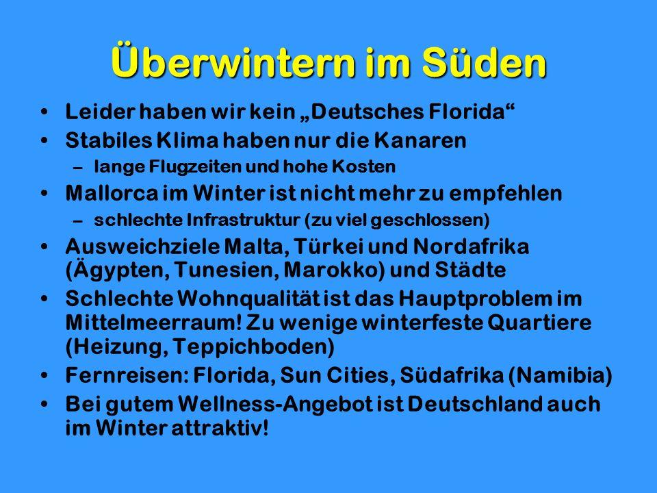 Überwintern im Süden Leider haben wir kein Deutsches Florida Stabiles Klima haben nur die Kanaren –lange Flugzeiten und hohe Kosten Mallorca im Winter