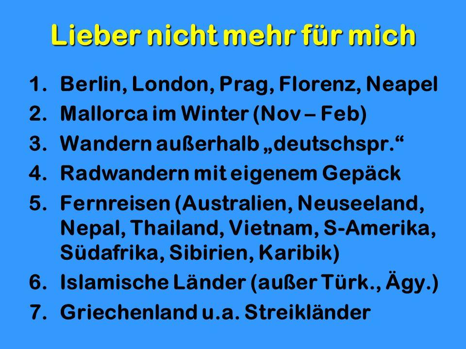Lieber nicht mehr für mich 1.Berlin, London, Prag, Florenz, Neapel 2.Mallorca im Winter (Nov – Feb) 3.Wandern außerhalb deutschspr. 4.Radwandern mit e