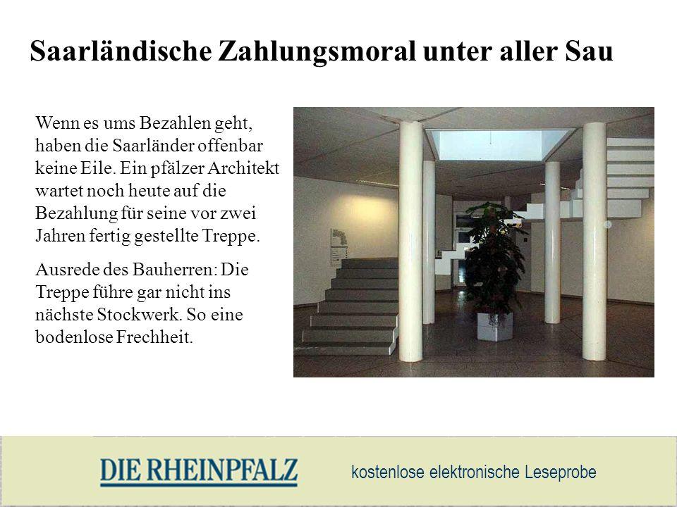 kostenlose elektronische Leseprobe Saarländische Zahlungsmoral unter aller Sau Wenn es ums Bezahlen geht, haben die Saarländer offenbar keine Eile. Ei