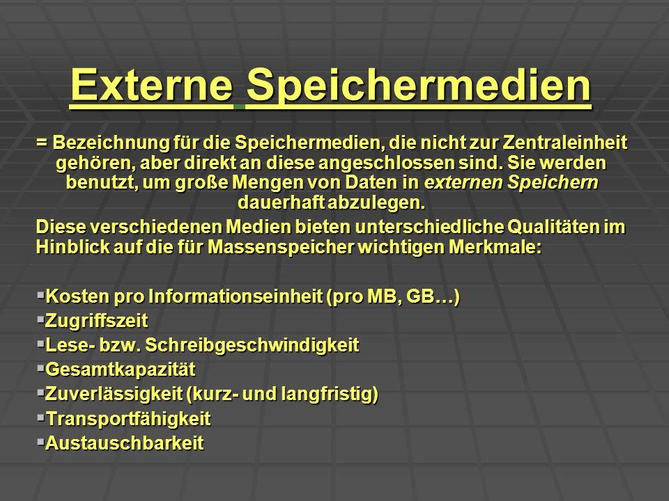Externe Speichermedien = Bezeichnung für die Speichermedien, die nicht zur Zentraleinheit gehören, aber direkt an diese angeschlossen sind. Sie werden