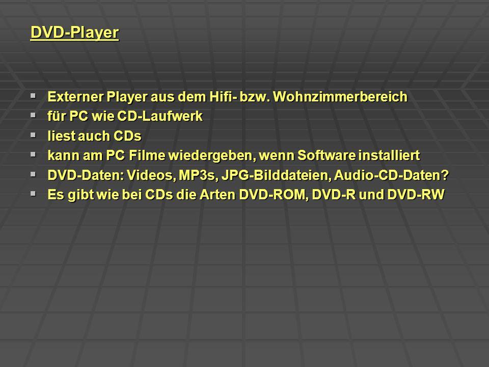 DVD-Player Externer Player aus dem Hifi- bzw. Wohnzimmerbereich Externer Player aus dem Hifi- bzw. Wohnzimmerbereich für PC wie CD-Laufwerk für PC wie