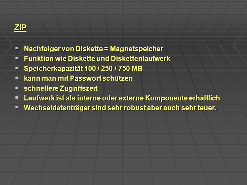 ZIP Nachfolger von Diskette = Magnetspeicher Nachfolger von Diskette = Magnetspeicher Funktion wie Diskette und Diskettenlaufwerk Funktion wie Diskett
