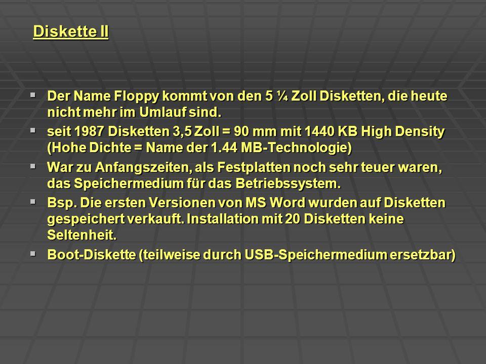 Diskette II Der Name Floppy kommt von den 5 ¼ Zoll Disketten, die heute nicht mehr im Umlauf sind. Der Name Floppy kommt von den 5 ¼ Zoll Disketten, d