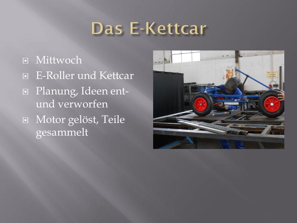 Mittwoch E-Roller und Kettcar Planung, Ideen ent- und verworfen Motor gelöst, Teile gesammelt