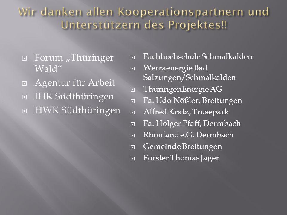 Forum Thüringer Wald Agentur für Arbeit IHK Südthüringen HWK Südthüringen Fachhochschule Schmalkalden Werraenergie Bad Salzungen/Schmalkalden Thüringe