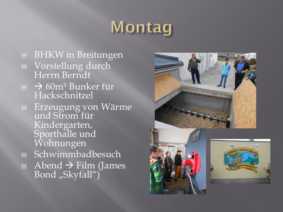 BHKW in Breitungen Vorstellung durch Herrn Berndt 60m³ Bunker für Hackschnitzel Erzeugung von Wärme und Strom für Kindergarten, Sporthalle und Wohnung