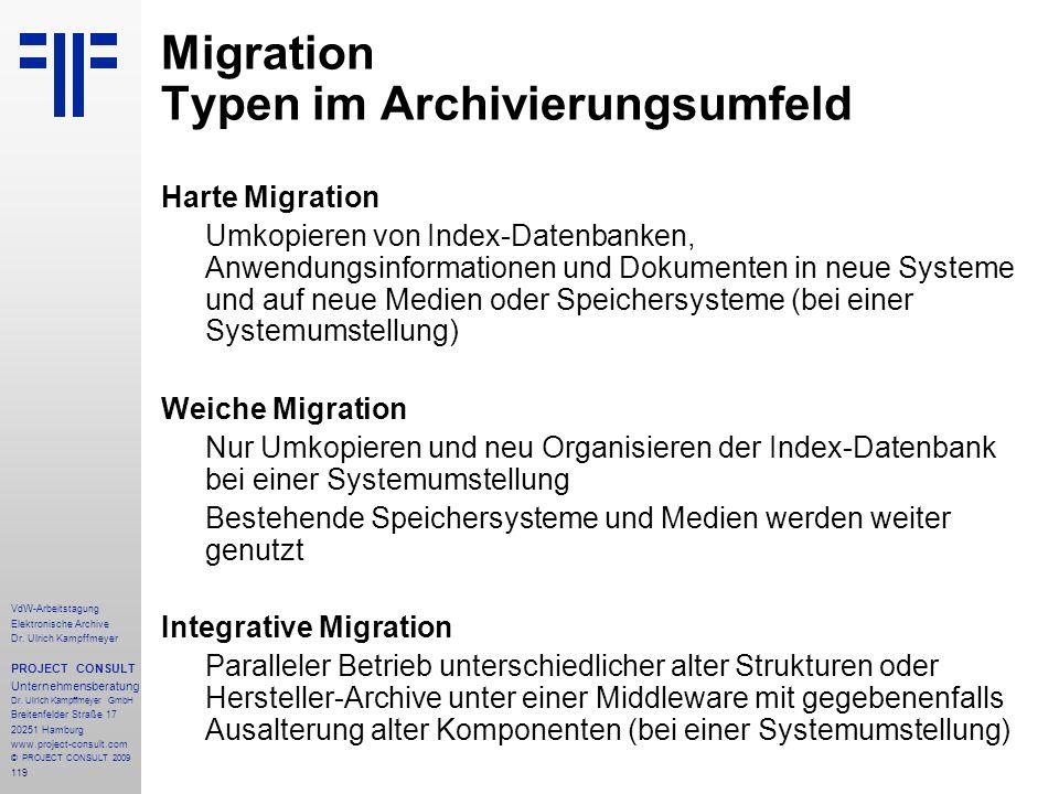 119 VdW-Arbeitstagung Elektronische Archive Dr. Ulrich Kampffmeyer PROJECT CONSULT Unternehmensberatung Dr. Ulrich Kampffmeyer GmbH Breitenfelder Stra