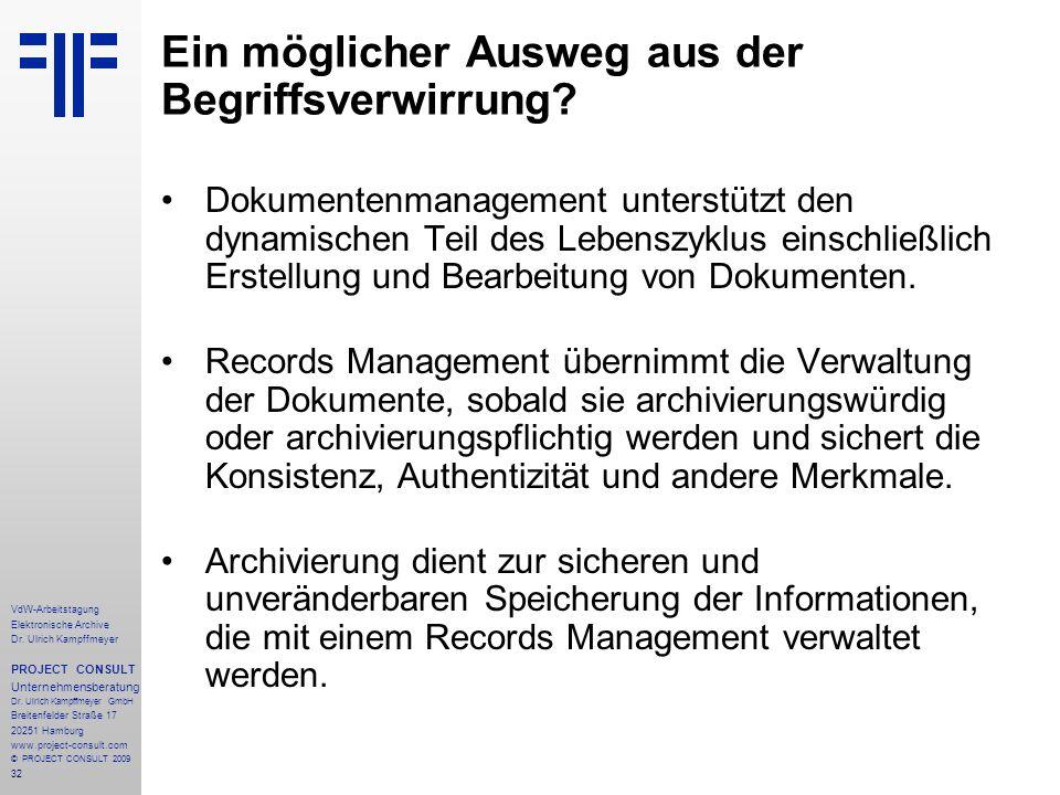 32 VdW-Arbeitstagung Elektronische Archive Dr. Ulrich Kampffmeyer PROJECT CONSULT Unternehmensberatung Dr. Ulrich Kampffmeyer GmbH Breitenfelder Straß
