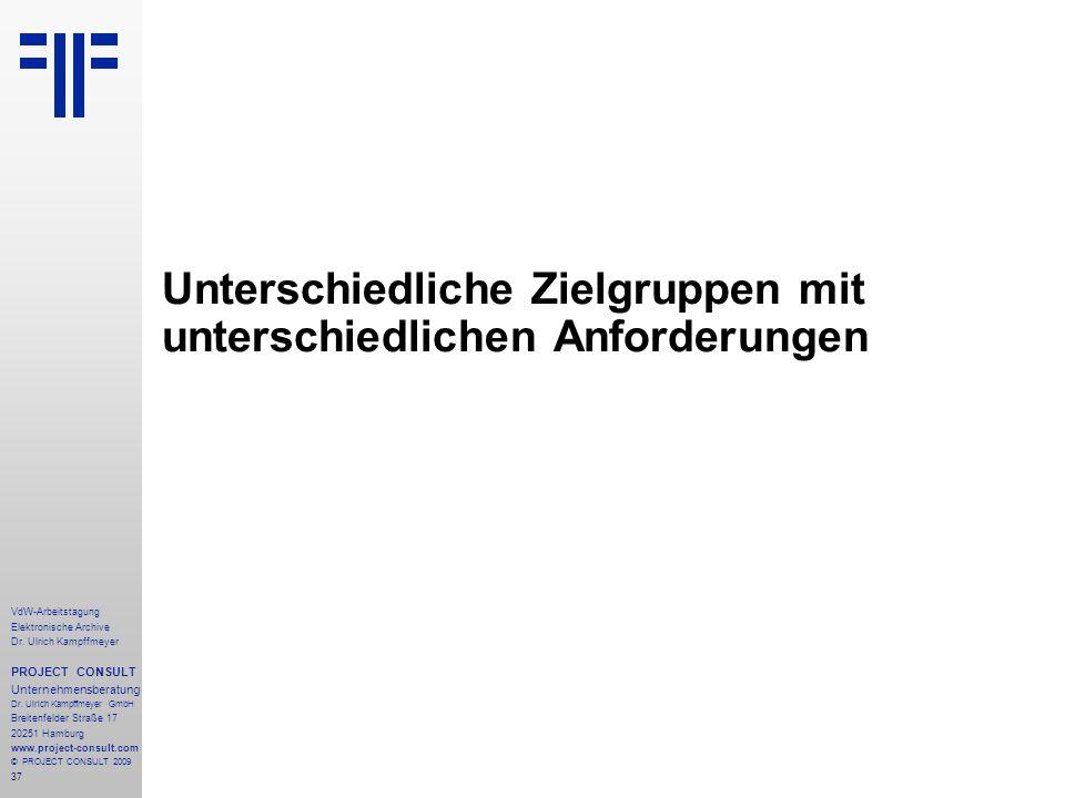 37 VdW-Arbeitstagung Elektronische Archive Dr. Ulrich Kampffmeyer PROJECT CONSULT Unternehmensberatung Dr. Ulrich Kampffmeyer GmbH Breitenfelder Straß